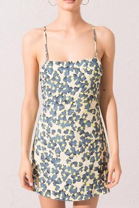 Bsl Kadın Ekru Sırt Dekolteli Çapraz Bağlama Detaylı Mini Elbise