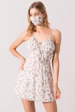 Bsl Kadın Beyaz Sırt Dekolteli Askılı Elbise