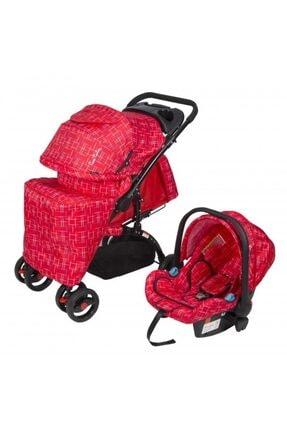 Kırmızı Pc409 Aloin Travel Sistem Bebek Arabası - Kırçıllı P651S1257