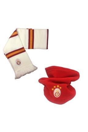Galatasaray Unisex Beyaz Lisanslı Boyunluk Atkı Set