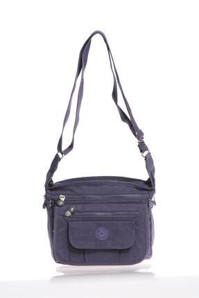 Smart Bags Kadın Krinkıl Kumaş Mor Çapraz Çanta 3005