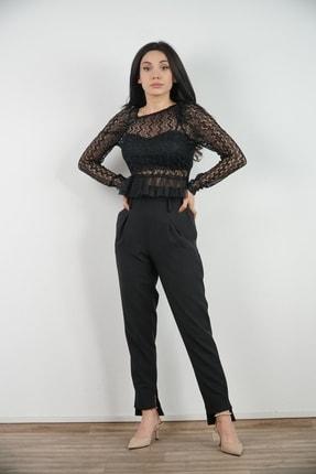Lila Rose Kadın Siyah Tül Detaylı Dantel Bluz