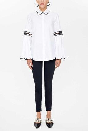 Societa - Nakış Detaylı Poplın Gömlek 10692 Beyaz-siyah