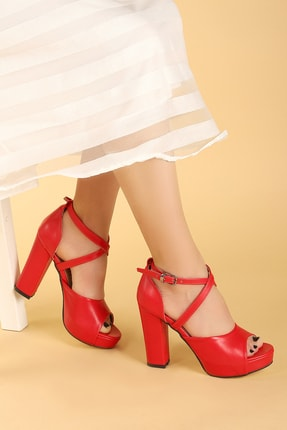 Ayakland Kadın Kırmızı Platform Topuklu Ayakkabı 11 cm 3210-2058