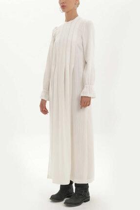 Societa - Pilili Uzun Elbise 92325 Beyaz