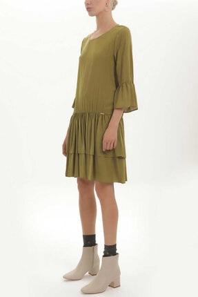 Societa - Bol Kesim Frfırlı Elbise 92395 Haki