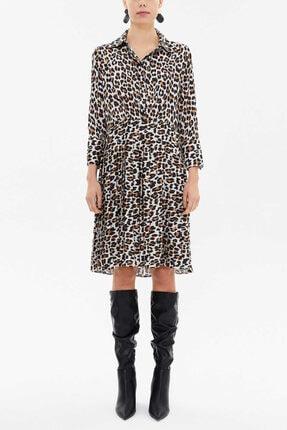 Societa - Pliseli Gömlek Elbise 92649 Leopar