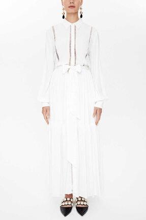 Societa - Dantel Detaylı Uzun Büzgülü Elbise 93088 Ekru