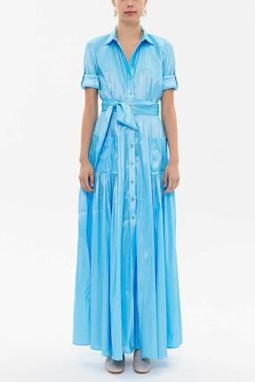 Societa - Cepli Ve Lastikli Gömlek Elbise 92606 Mavi