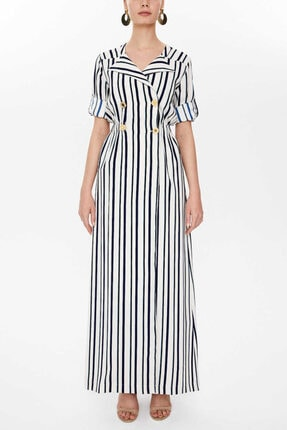 Societa - Çizgili Uzun Gömlek Elbise 93138 Lacivert