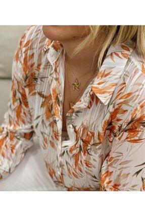 Sateen Kadın Turuncu Gömlek
