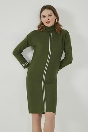 Sateen Kadın Haki-Ekru Şeritli Triko Elbise  STN220KTE318