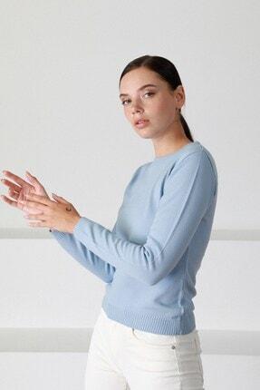 Ferraro Kadın Açık Mavi Yuvarlak Yaka Triko Kazak