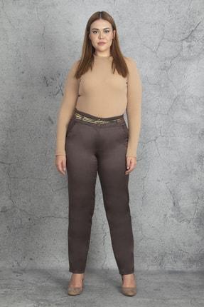 Şans Kadın Kahve Kemer Aksesuarlı Cep Detaylı Klasik Pantolon 65N19913