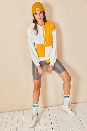 Morpile Kadın Sarı Bloklu Sweatshirt