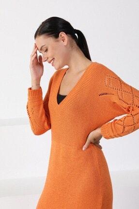 Ferraro Kadın Turuncu V Yaka Triko Elbise