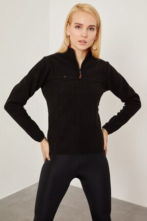 Arma Life Kadın Siyah Yarım Fermuarlı Polar Sweatshirt