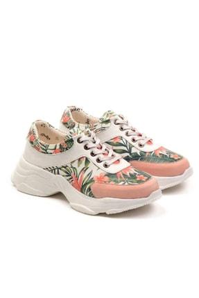 Goby Kadın Beyaz Özel Tasarım Baskılı Çiçek Desenli Spor Ayakkabı