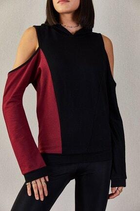 Boutiquen Kadın Bordo Omzu Açık Garnili Kapüşonlu Sweatshirt 1430