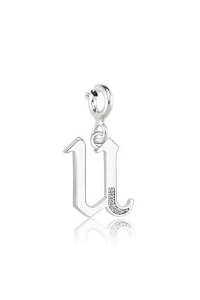 Valori Jewels Kadın U Harfi Swarovski Zirkon Beyaz Taşlı Gümüş Charm