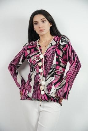 Lila Rose Kadın Fuşya Aksesuarlı Piliseli Bluz