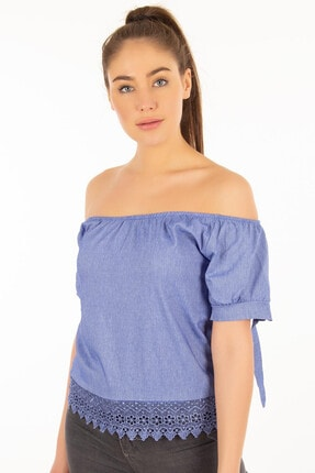 Morpile Kadın Mavi Dantel Detaylı Lastikli Bluz A1103