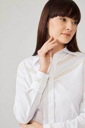 adL Kadın Beyaz Pensli Gömlek 13038047000002