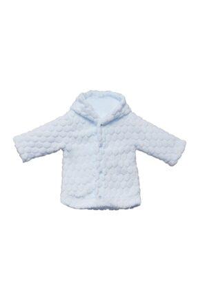 Bebitof Unisex Bebek Mavi Kapşonlu Velboa Hırkası