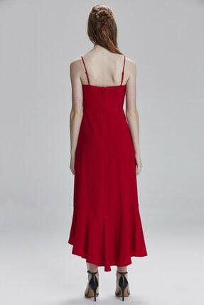 adL Kadın Kirmizi Etek Ucu Volanlı Elbise