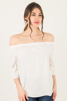 Morpile Kadın Beyaz Yaka Lastikli Bluz A1007-1