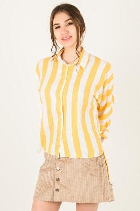 Morpile Kadın Sarı Arkası Uzun Kalın Çizgili Gömlek A1032