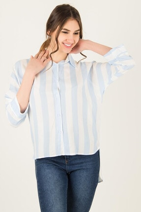 Morpile Kadın Mavi Arkası Uzun Kalın Çizgili Gömlek A1032