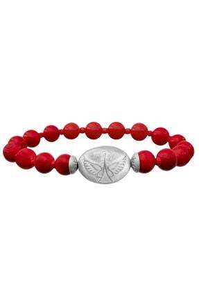 Valael Kadın Özel Tasarım Gümüş Melek Gabriel Sembollü Kırmızı Doğal Taş Şans Ve Korunma Bilekliği