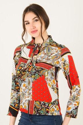 Morpile Kadın Kırmızı-Beyaz Kravatlı Bluz A1001