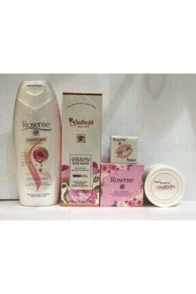 Rosense Gülbirlik Gülsuyu + Şampuan + Dudak Balzamı + Vazelin + Gül Yapraklı Sabun 5li Bakım Seti