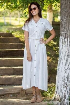 Morpile Kadın Beyaz Kısa Kol Düğmeli Elbise A1110