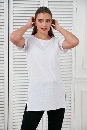 Morpile Kadın Beyaz Yirtmaçli Basic Tshirt A1406