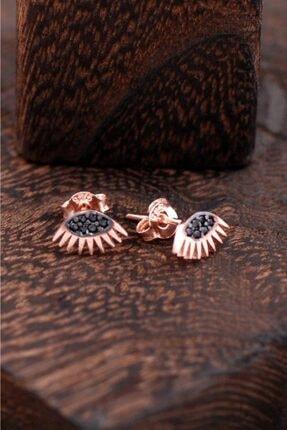Sümer Telkari Kadın Göz Tasarımlı Rose Gümüş Küpe 2414