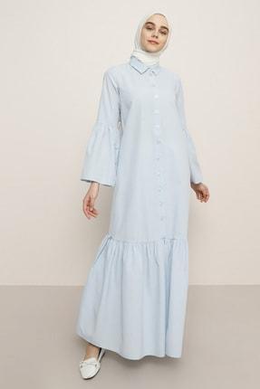 Benin Kadın Mavi Düğme Detaylı Elbise  1414194