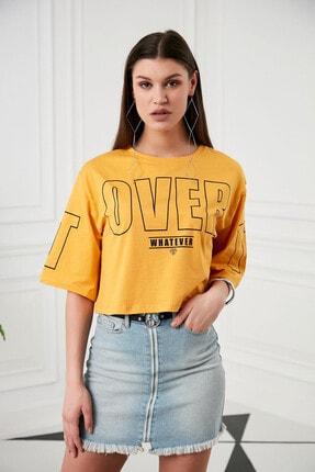 Morpile Kadın Sarı Baskılı T-shirt