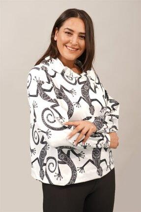 Seamoda Kadın Beyaz Kertenkele Desenli Sweatshirt