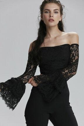adL Kadın Siyah Omuzları Açık Dantelli Kolları Volanlı Bluz