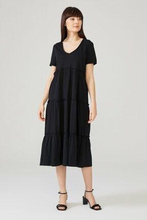 adL Kadın Siyah V Yaka Elbise 12438782000001