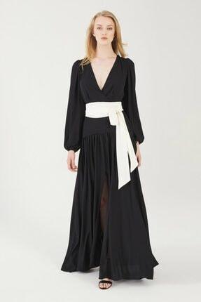 adL Kadın Siyah Uzun Şifon Elbise 12436942001001