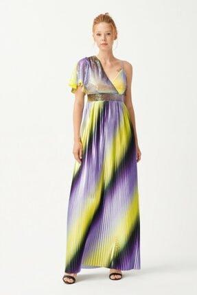adL Kadın Mor Yırtmaçlı Uzun Elbise