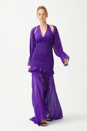 adL Kadın Mor Gipe Detaylı Elbise