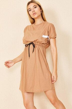 Morpile Kadın Kahverengi Bel Bağlamalı Mini Elbise