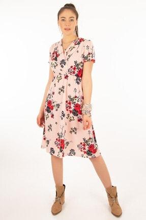 Morpile Kadın Pembe Kısa Kol Desenli Elbise A1100