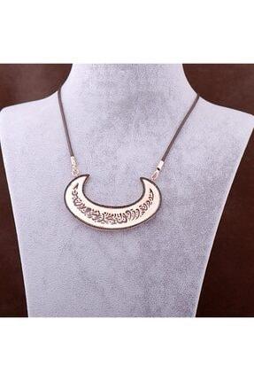 Sümer Telkari Kadın Rose Gümüş Hilal Tasarım Ayetli Uzun Kolye 3437