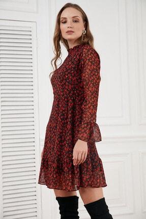 Morpile Kadın Kırmızı Çıtır Desen Şifon Elbise
